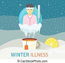 冬天, 病症, 季節, 人們, 設計