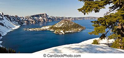 冬天, 看法, ......的, 火山口湖