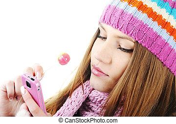 冬天, 美麗, 女孩讀物, sms 消息, 上, 移動電話