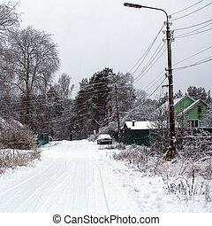 冬天, 街道, ......的, 一, ......的, 解決, ......的, 列宁格勒, 區域, russia.