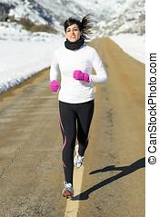 冬天, 跑, 婦女, 路