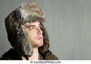 冬天, 軟毛帽子, 肖像, ......的, 時裝, 年輕人