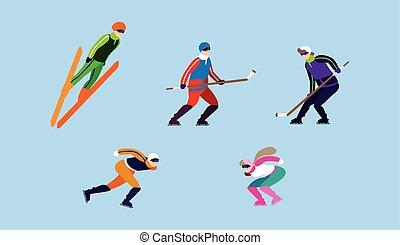 冬天, 集合, 人們, 運動, 極端, 實踐