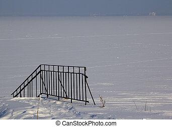 冬天, 雪, 漂流物, 背景