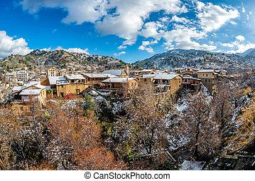 冬天, 風景, 在, 村莊, ......的, kakopetria., nicosia, 地區, 塞浦路斯