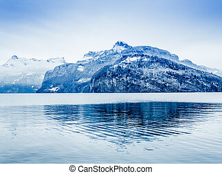 冬天, alps., 全景, 雪, 瑞士人, mountain.