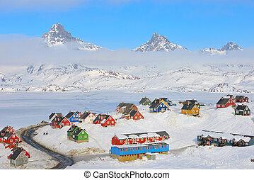 冬季, 在中, tasiilaq, 格陵兰