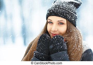 冬季, 少女, portrait., 美丽, 快乐, 模型, 女孩, 笑, 同时,, 乐趣, 在中, 冬季,...