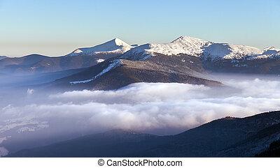 冬季, 日出, 在中, the, 山。