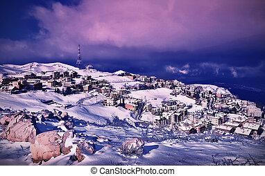 冬季, 风景, 村庄