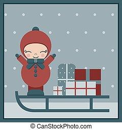 冬, そり, 贈り物, クリスマス