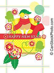 冬, イメージ, 新年, カード
