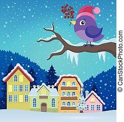 冬, イメージ, 3, 定型, 主題, 鳥
