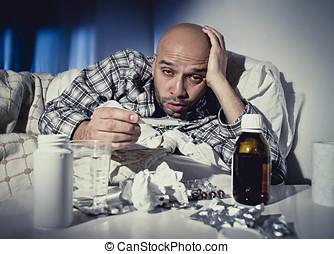 冬, インフルエンザ, 苦しみ, ベッド, ウイルス, タブレット, 病気, 薬, 寒い, 持つこと, あること, 人