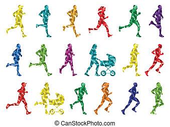 冬, カラフルである, シルエット, ランナー, 背景, マラソン
