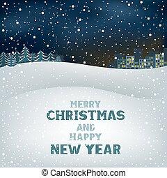 冬, クリスマス, 夜