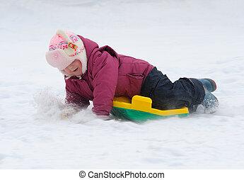 冬, ゲーム, 子供