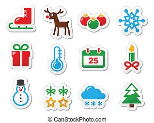 冬, セット, 黒, クリスマス, アイコン