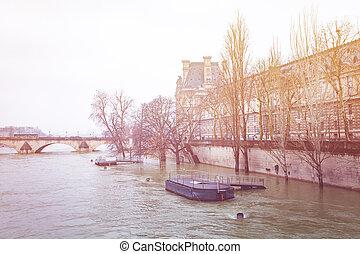 冬, セーヌ, パリ, フランス, quayside, 川
