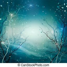 冬, バックグラウンド。, 抽象的, 自然, ファンタジー, 背景