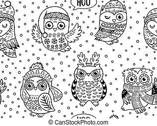 冬, パターン, seamless, フクロウ, 黒, 白