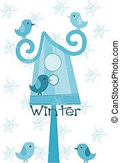 冬, -, フィーダー, time., スズメ, 鳥