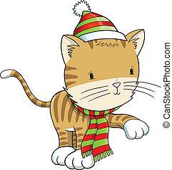 冬 休日, 子ネコ, ねこ, ベクトル