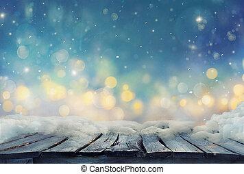 冬, 凍らせられた, ぼやけた背景, テーブル。, クリスマス, design.
