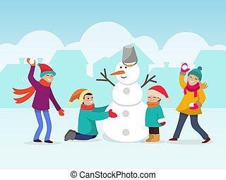 冬, 子供, 雪だるま, 作りなさい, 人, snowballs., ベクトル, 遊び, 作成, illustration., 2, 雪, 楽しみ, 他, 子供