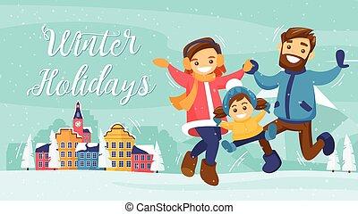 冬, 家族, カード, ポスター, 休日, 旗