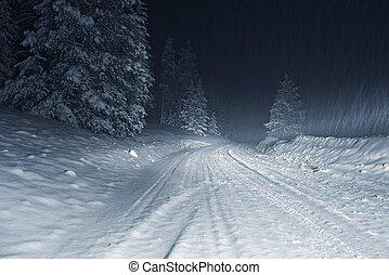 冬, 嵐, 夜で