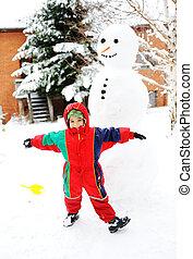 冬, 幸福に, 季節, 雪, 雪だるま, 作成, 遊び, 子供