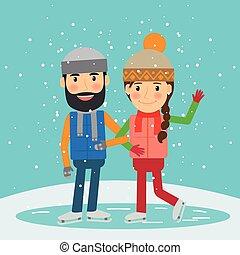 冬, 恋人, 若い, time., スケート, 幸せ
