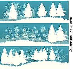 冬, 抽象的, 雪, 木, ベクトル, 風景
