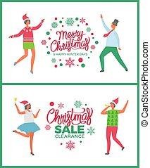 冬, 提供, ホリデー, セール, メリークリスマス, 幸せ