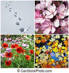 冬, 春, autumn., 4, seasons., 夏