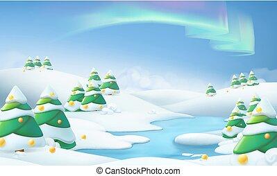 冬, 景色。, クリスマス, 背景, 3d, ベクトル, イラスト