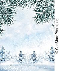 冬, 景色。, バックグラウンド。, 雪