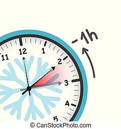 冬, 概念, 時間, スイッチ, 日光, セービング