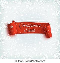 冬, 現実的, バックグラウンド。, セール, ペーパー, リボン, クリスマス, 赤