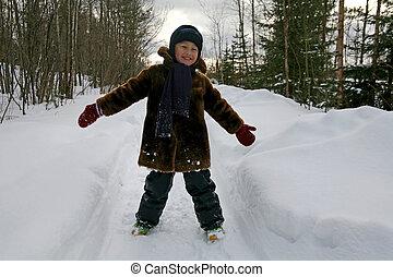 冬, 男の子, 屋外で