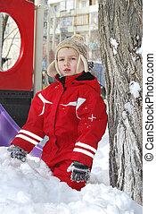 冬, 男の子, 遊び, 中に, ∥, 雪, 近くに, ∥, playground.