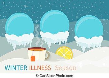 冬, 病気, 季節, 人々, デザイン