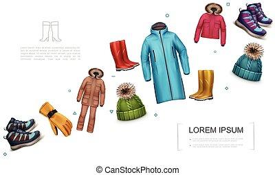 冬, 秋, テンプレート, 現実的, 衣服