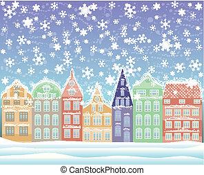 冬, 背景, 都市, ベクトル