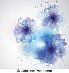 冬, 自動車, 花, flowers., 背景, 渦巻, カード, design.