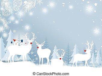冬, 葉, イラスト, クリスマス, トナカイ, ベクトル, デザイン, 松, 背景, 雪片, 森林