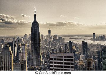 冬, 都市, 超高層ビル, ニューヨーク