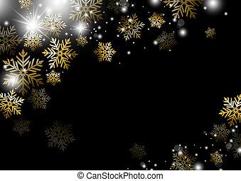 冬, 金, 季節, イラスト, クリスマス, ベクトル, デザイン, 背景, 雪片