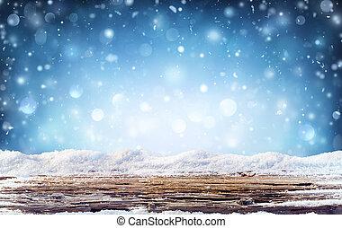 冬, 雪が多い, -, 背景, 夜テーブル